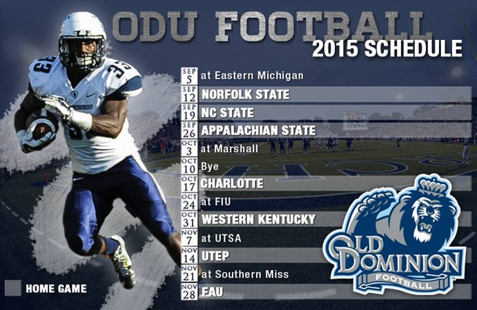 Odu Releases 2015 Football Schedule Old Dominion University