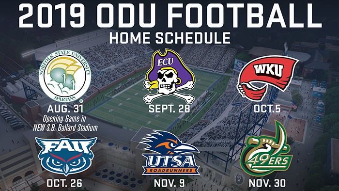 Football Releases 2019 Schedule Old Dominion University