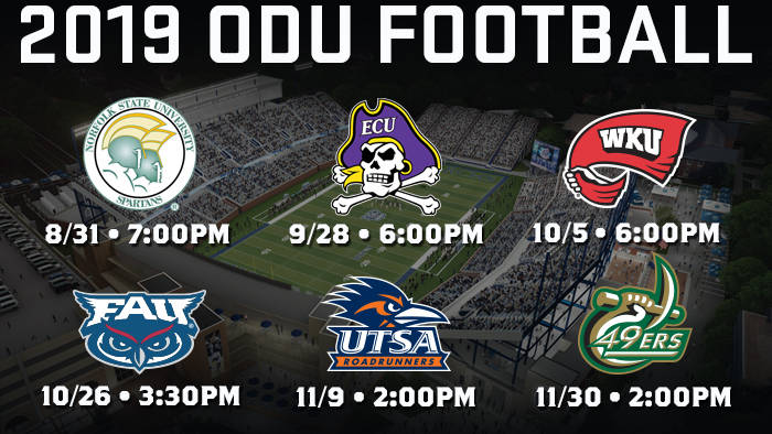 Football Announces Fan Friendly Game Times For 2019 Season Old Dominion University